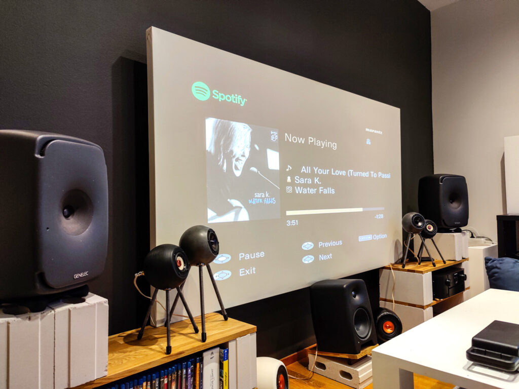 Home theater with active DSP speakers